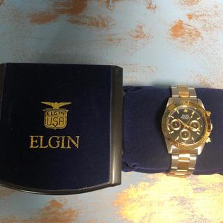 エルジン(ELGIN)のエルジン クロノグラフ ゴールド 新品未使用(腕時計(アナログ))