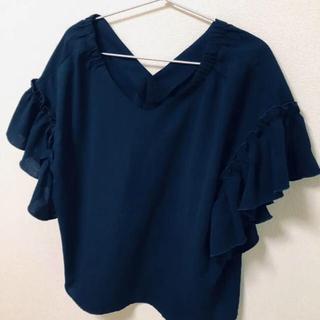 美品!! トップス ブラウス ネイビー  紺 Tシャツ(シャツ/ブラウス(半袖/袖なし))