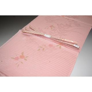 新品 帯締め帯揚げセット絽 夏物 ピンクオレンジ系 特価 正絹 No270(和装小物)