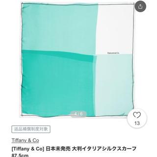 ティファニー(Tiffany & Co.)のtiffany and co 日本未発売 大判イタリアシルク スカーフ87.5㎝(バンダナ/スカーフ)