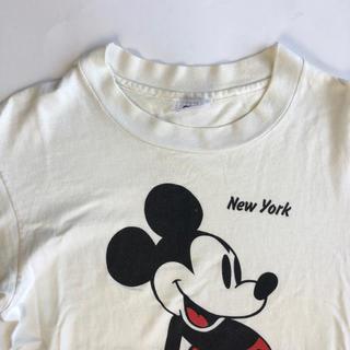 アンビル(Anvil)の90's USA製 Disney ディズニー ミッキー Tシャツ クリーム 古着(Tシャツ/カットソー(半袖/袖なし))