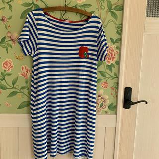 グラニフ(Design Tshirts Store graniph)のはらぺこあおむしグラニフボーダーワンピースブルー(ひざ丈ワンピース)