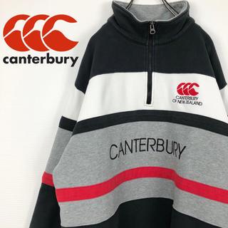 カンタベリー(CANTERBURY)のカンタベリー 90s 刺繍ビッグロゴ XL スウェットハーフジップトレーナー(スウェット)