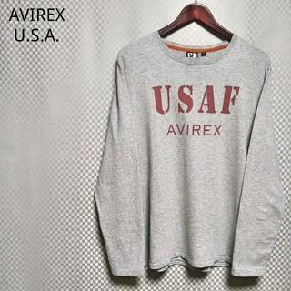 アヴィレックス(AVIREX)のアヴィレックス☆クルーネックロングTシャツ ロンT ビッグプリント XL グレー(Tシャツ/カットソー(七分/長袖))