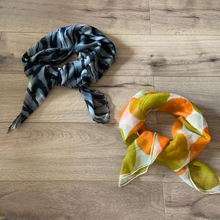 アメリヴィンテージ(Ameri VINTAGE)のヴィンテージスカーフ 二枚で アニマル柄 サークル柄(バンダナ/スカーフ)