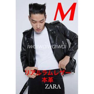 ザラ(ZARA)の新品 ZARA M 本革 ラム レザーライダースジャケット(ライダースジャケット)
