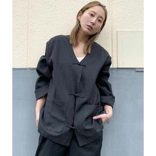 カスタネ(Kastane)のkastane chn vneck jacket 黒 新品未使用(ノーカラージャケット)