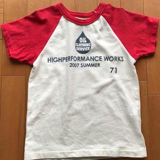 オイル(OIL)の★OIL★赤×白 ラグラン袖 Tシャツ 120cm(110cm)(Tシャツ/カットソー)