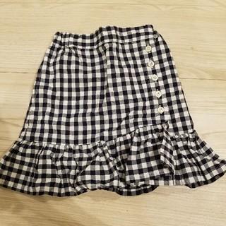 petit main - 裾フリル切り替えギンガムチェック柄スカート100