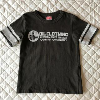 オイル(OIL)の★OIL★袖にライン 半袖Tシャツ 黒墨 120cm(110cm)(Tシャツ/カットソー)