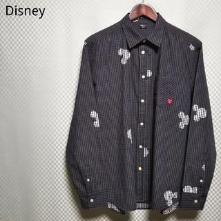 ディズニー(Disney)のディズニー☆カジュアルシャツ チェック柄 ミッキー 刺繍ロゴ LL モノトーン(シャツ)