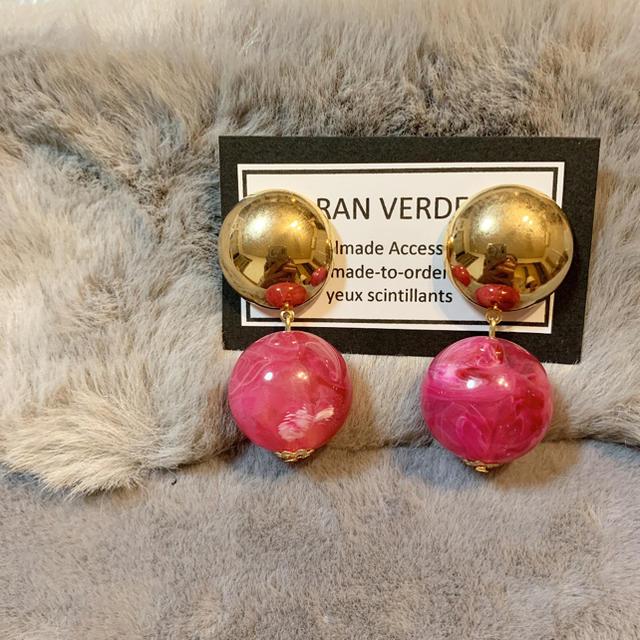ZARA(ザラ)のハンドメイド ピアス イヤリング ☆ビッグカボションとビッグマーブルボール ハンドメイドのアクセサリー(ピアス)の商品写真
