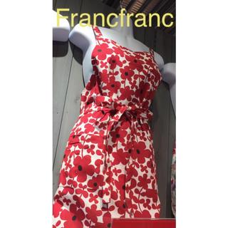 フランフラン(Francfranc)のFrancfranc  花柄エプロン セルマ  レッド(収納/キッチン雑貨)