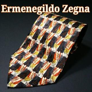 エルメネジルドゼニア(Ermenegildo Zegna)の【極美品】Ermenegildo Zegna 花柄 ネクタイ オレンジ/ブラック(ネクタイ)