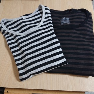 MUJI (無印良品) - ボーダーTシャツ/長袖2枚セット/無印良品