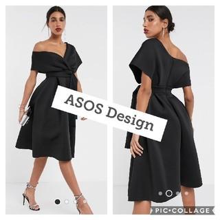 ザラ(ZARA)の【ASOS】ブラック リボンドレス【新品タグ付き】(ミディアムドレス)