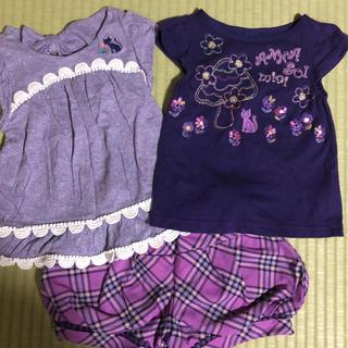 アナスイミニ(ANNA SUI mini)の美品 アナスイミニ  90cm 半袖Tシャツ ショートパンツ キッズ 女の子(Tシャツ/カットソー)