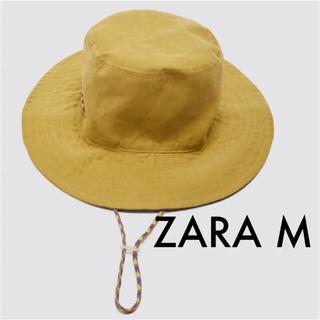 ザラ(ZARA)の【ZARA】バケットハット あごひも付き ミディアムイエロー M 帽子(ハット)