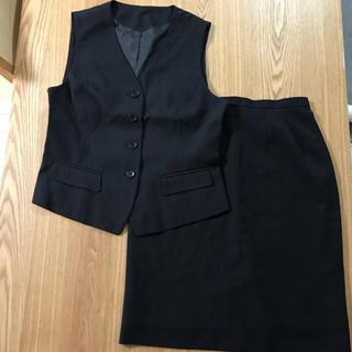 事務服上下セット オフィス 制服 タイトスカート  黒(スーツ)