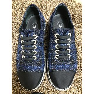 シャネル(CHANEL)のCHANEL シャネル パール ツイード  スニーカー(ローファー/革靴)