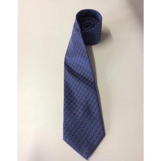 ネクタイ ブルー 小紋柄 イタリア製 シルク100%(ネクタイ)