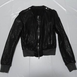 エディション(Edition)の高級 美品◆エディション 女性 襟無し 羊革レザージャケット 黒M◆ライダース(ライダースジャケット)
