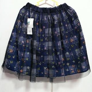ギャルフィット(GAL FIT)のチュールスカート 花柄×チェック ネイビー(ひざ丈スカート)