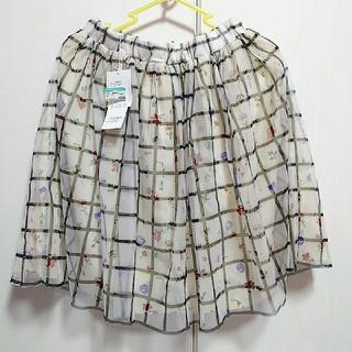ギャルフィット(GAL FIT)のチュールスカート 花柄×チェック ホワイト(ひざ丈スカート)