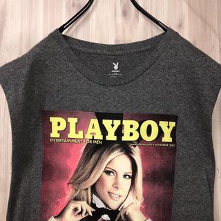 プレイボーイ(PLAYBOY)のPLAYBOY プレイボーイ バニーガール フォトTシャツ ノースリ(Tシャツ/カットソー(半袖/袖なし))