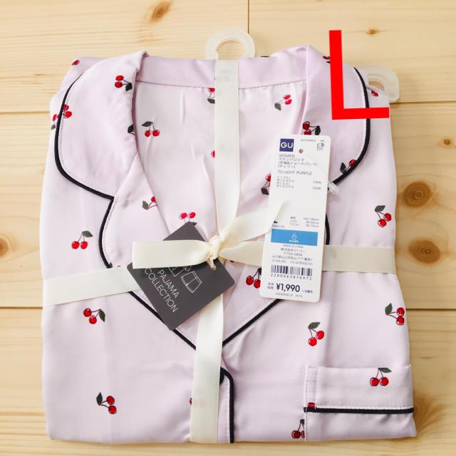 GU(ジーユー)の新品★GU サテンパジャマ 半袖&ショートパンツ チェリー ライトパープル L レディースのルームウェア/パジャマ(パジャマ)の商品写真