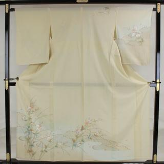 AC4917 夏物 訪問着 160㎝ クリーム系 蘇州汕頭刺繍(着物)