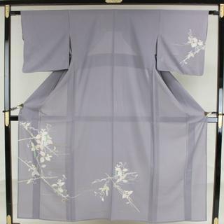 AC4930 夏物 訪問着 156㎝ 紫グレー草花(着物)