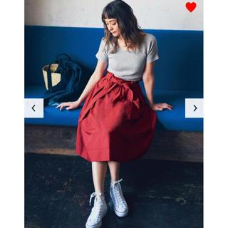 UNIQLO - ユニクロ☆XS☆ハイウエストベルテッドフレアミディスカート