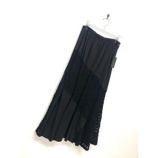 レース 花柄 黒 ロングプリーツスカート  ウエストゴム m〜L