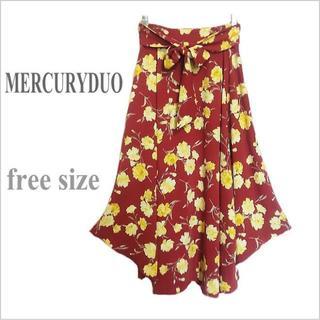 MERCURYDUO - 【MERCURYDUO / マーキュリーデュオ】赤花柄ロングフレアスカート*F
