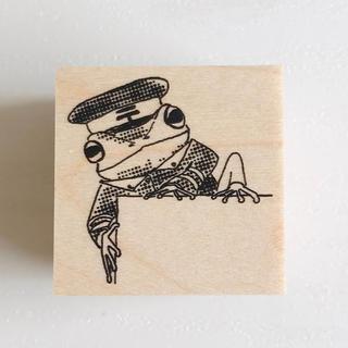 あかめがね カエルの郵便局員スタンプ 切手スタンプ 切手枠 かえる
