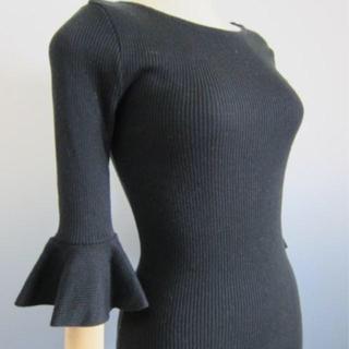 dholic - DHOLIC フリル袖 黒ニット フリーサイズ