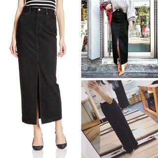 シンゾーン(Shinzone)のTHE SHINZONEのフロントスリットスカート シンゾーンブラックデニム(ロングスカート)