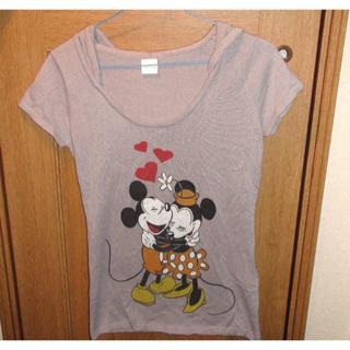 ディズニー(Disney)のディズニー ミッキー&ミニーのフードつき半そでセーター サイズM <c080>(ニット/セーター)