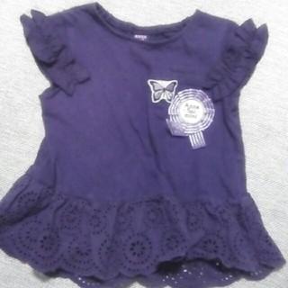 アナスイミニ(ANNA SUI mini)のアナスイミニの紫パープルTシャツ100メダル蝶々レース(Tシャツ/カットソー)