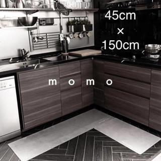 レザー♡キッチンマット♡高級感♡モノトーン♡シンプル♡150cm♡マット♡ラグ♡