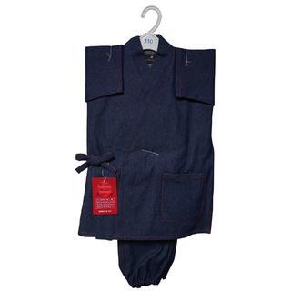 新品送料込み 男の子 デニム作務衣 ステッチ赤 110cm KSE004(和服/着物)