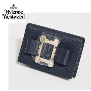 ヴィヴィアンウエストウッド(Vivienne Westwood)の《ヴィヴィアンウエストウッド》新品 リボンモチーフ 小銭入れ コインケース 濃紺(コインケース)