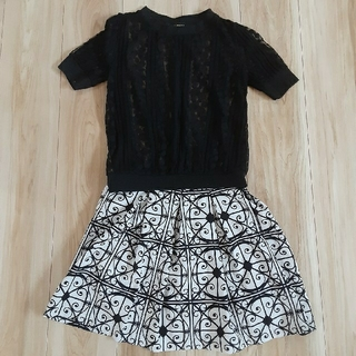 アンズ(ANZU)の半袖トップス&スカート ブラック×ホワイト(ミニスカート)