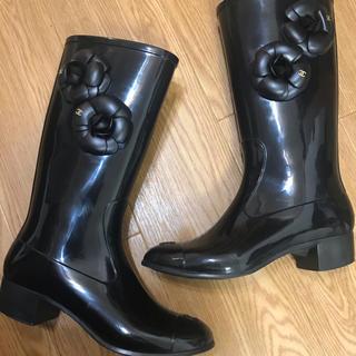 シャネル(CHANEL)のCHANEL カメリア レインブーツ 正規品 サイズ38(レインブーツ/長靴)