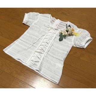 カネコイサオ(KANEKO ISAO)のワンダフルワールドカネコイサオピンクハウスお花刺繍白ブラウス半袖(シャツ/ブラウス(半袖/袖なし))