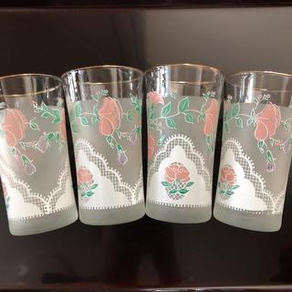 トウヨウササキガラス(東洋佐々木ガラス)の昭和レトロ 可愛いグラス 4個(グラス/カップ)