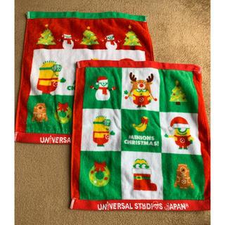 ユニバーサルスタジオジャパン(USJ)のミニオンズ クリスマス ハンドタオル 2枚組(タオル)