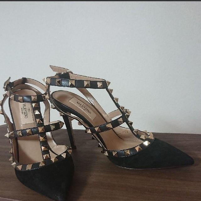 VALENTINO(ヴァレンティノ)のValentino ロックスタッズ パンプス サンダル スウェード37 靴 レディースの靴/シューズ(ハイヒール/パンプス)の商品写真