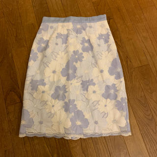 Debut de Fiore - Debut de Fiore フラワー刺繍スカート 水色 36(S)